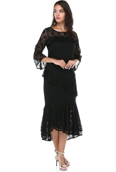 B&S Line Kadın Siyah Dantelli Elbise