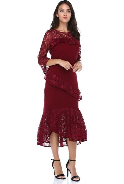 B&S Line Kadın Bordo Dantelli Elbise