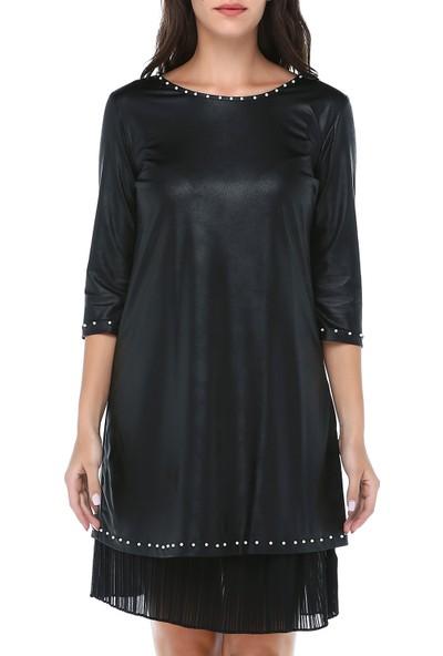 B&S Line Kadın Siyah Yakası Taşlı Pilise Detaylı Deri Elbise