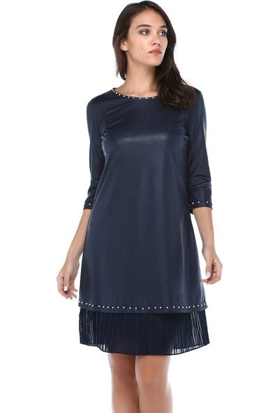 B&S Line Kadın Lacivert Yakası Taşlı Pilise Detaylı Deri Elbise