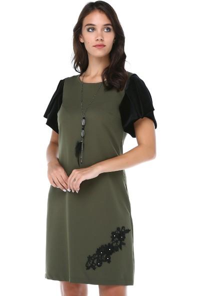 B&S Line Kadın Kolları Kadife Dantelli Yeşil Elbise