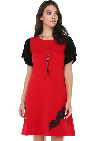 B&S Line Kadın Kolları Kadife Dantelli Kırmızı Elbise