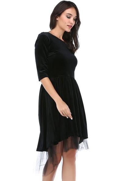 B&S Line Kadın Siyah Kadife Tül Detaylı Dantelli Elbise