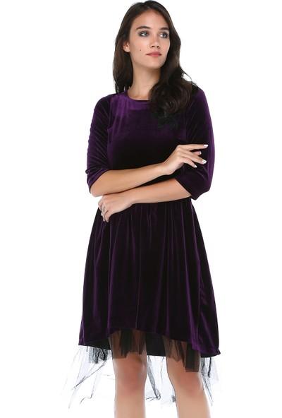 B&S Line Kadın Mor Kadife Tül Detaylı Dantelli Elbise