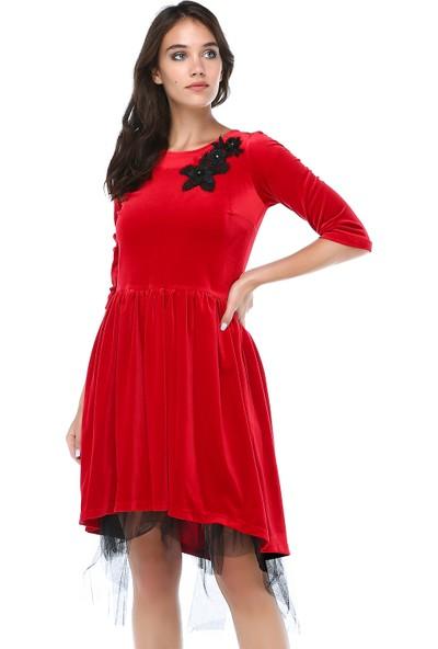 B&S Line Kadın Kırmızı Kadife Tül Detaylı Dantelli Elbise