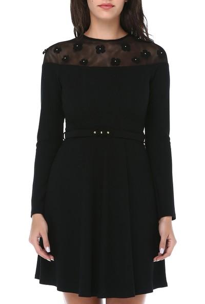 B&S Line Kadın Taşli Çiçek Detayli Kemerli Siyah Elbise
