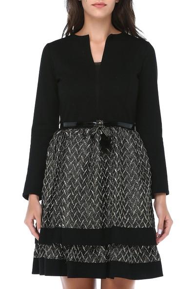 B&S Line Kadın Kemerli Gold Jakar Etek Keçe Elbise