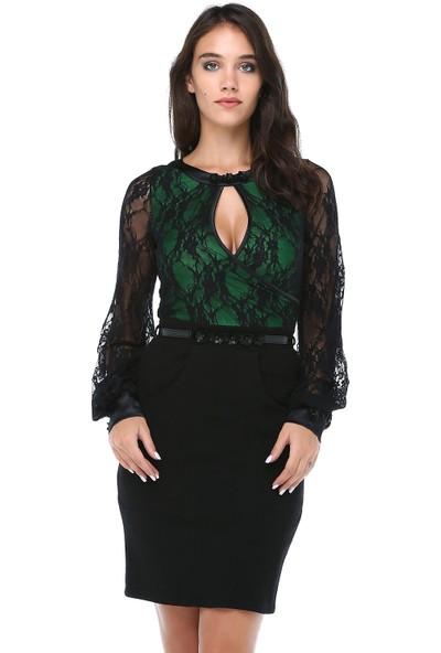 B&S Line Kadın Üstü Dantelli Kemerli Siyah Keçe Elbise