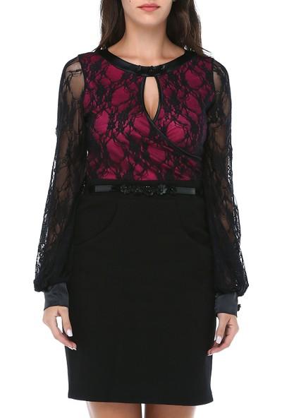 B&S Line Kadın Üstü Dantelli Kemerli Pembe Keçe Elbise