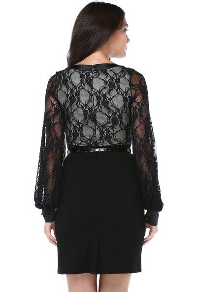 B&S Line Kadın Üstü Dantelli Kemerli Bej Keçe Elbise