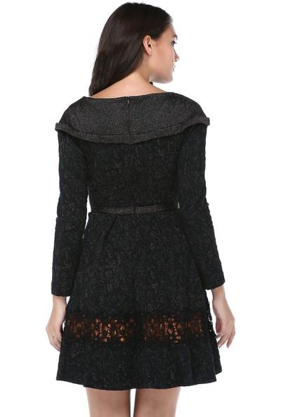 B&S Line Kadın Simli Dantelli Siyah Jakar Elbise