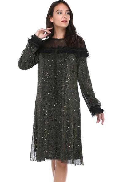 B&S Line Kadın Yakası Tüllü Gold Varaklı Elbise