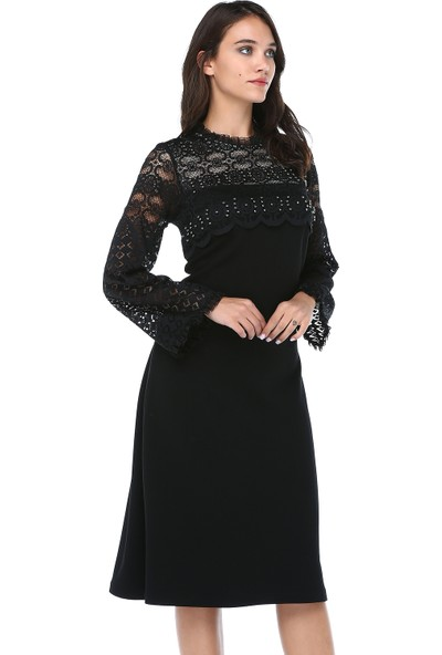 B&S Line Kadın Kolları Yakası Dantelli Taşlı Siyah Elbise