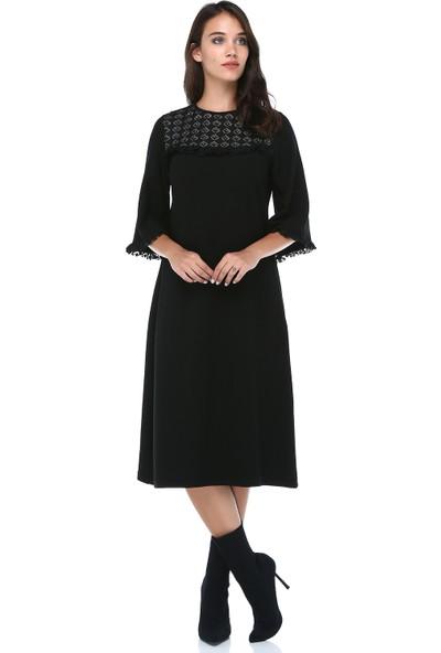 B&S Line Kadın Dantelli Düz Taşlı Siyah Elbise