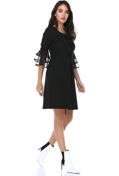 B&S Line Kadın Siyah A Pileli Motifli Elbise