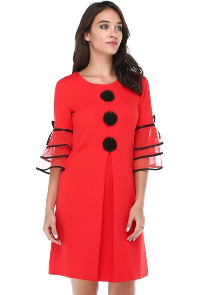 B&S Line Kadın Kırmızı A Pileli Motifli Elbise