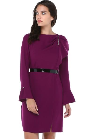 B&S Line Kadın Lila Omuz Detaylı Taşlı Elbise