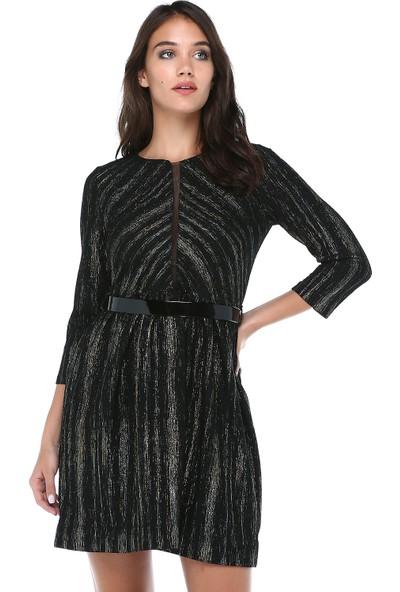 B&S Line Kadın Tül Detaylı Kemerli Gold Elbise