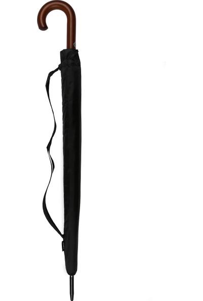 Almera Erkek Baston Şemsiye - 16 Telli - Otomatik Mekanizma Ahşap Sap