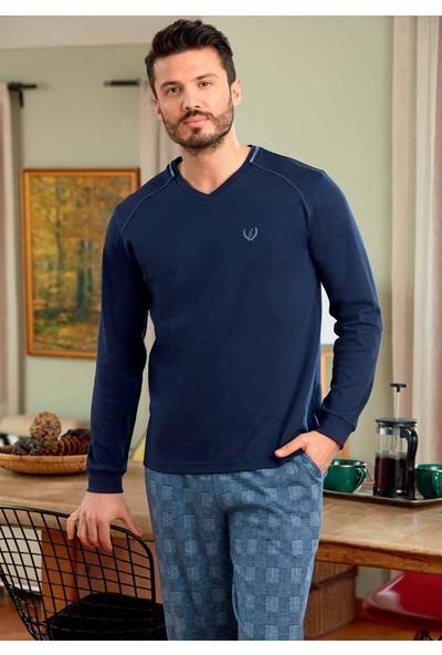 Eros Ese22024 Jakarlı Şardonlu İnterlok V Yaka Uzun Kollu Erkek Pijama Takımı