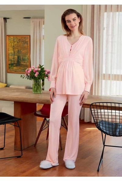 Eros Esk22820 Polyester Viskon Lohusa Uzun Kollu Pijama Takımı