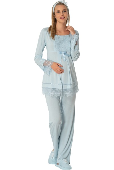 Şık Mecit 1820 Eteği Dantelli İnce Lohusa Pijama Takımı ( Dört Mevsim )