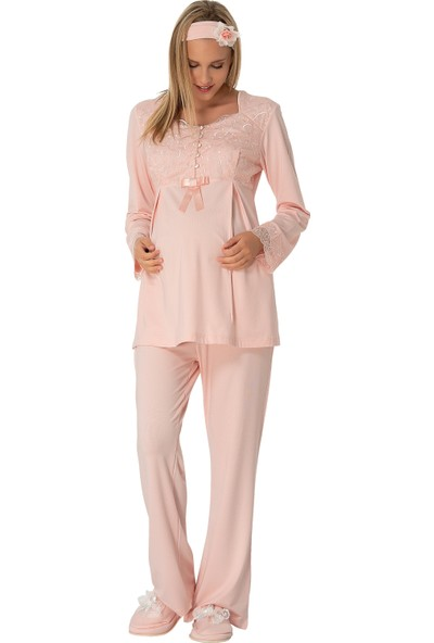 Şık Mecit 1915 Biritli Dantelli Lohusa Pijama Takımı
