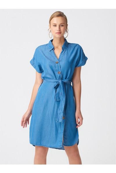 Dilvin 9759 V Yaka Tencel Elbise Mavi