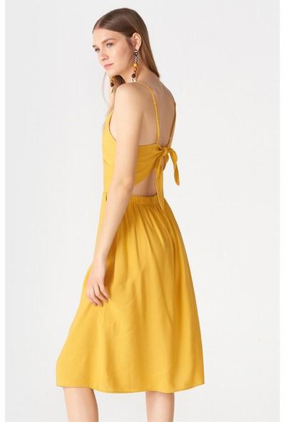 Dilvin 9878 Sırt Bağlamalı Askılı Elbise Hardal