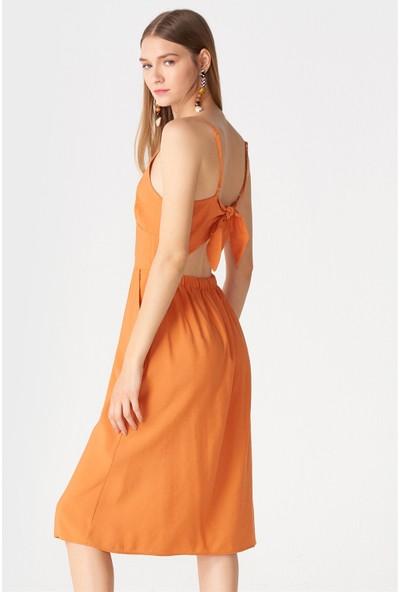 Dilvin 9878 Sırt Bağlamalı Askılı Elbise Oranj