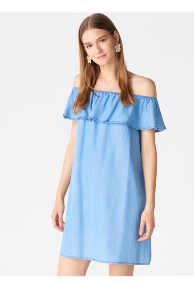 Dilvin 9488 Yakası Lastikli Tensel Elbise Mavi