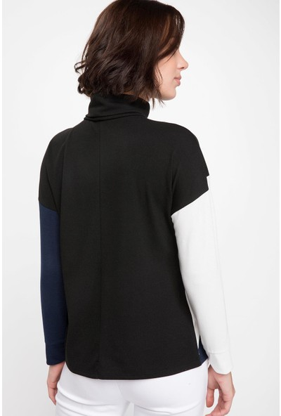 Defacto Kadın Balıkçı Yaka Renk Bloklu Uzun Kollu T-Shirt