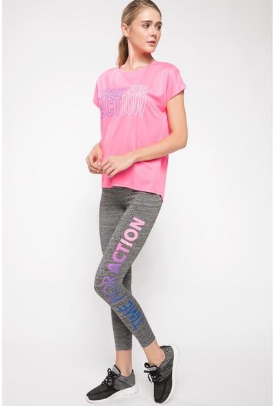 Defacto Kadın Slogan Baskılı Slim Fit Sporcu Tayt