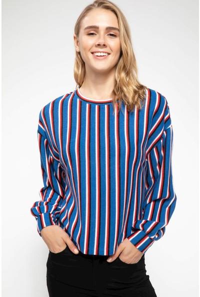 Defacto Kadın Uzun Kollu Bisiklet Yaka Çizgili T-Shirt