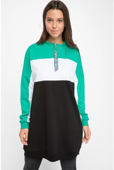 Defacto Kadın Yakası Fermuar Detaylı Renk Bloklu Tunik