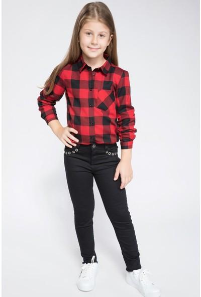 Defacto Kız Çocuk Kol Bağlama Detaylı Ekose Gömlek