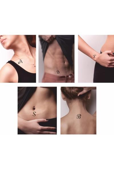 One Spray Tattoo Alfabebe El Yazısı Harf Geçici Dövme Seti Siyah Sprey Ve Desen