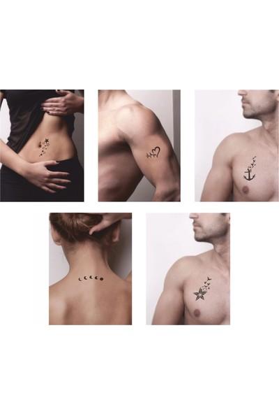 One Spray Tattoo Kalp Çapa Yıldız Dövme Şablonu Ve Kına Desenleri 5 Adet