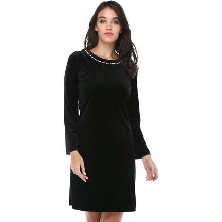 56cfad83e433f B&S Line Kadın Kadife Yakası Taşlı Siyah Elbise Fiyatı