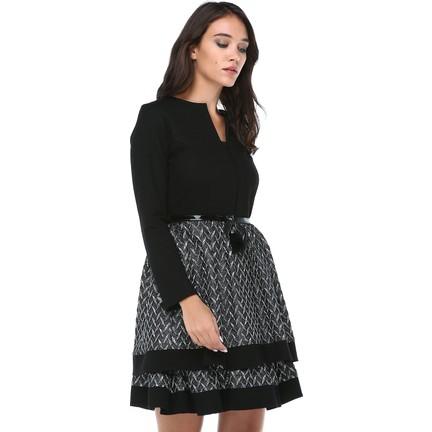 39c441ce50742 B&S Line Kadın Kemerli Gümüş Jakar Etek Keçe Elbise Fiyatı