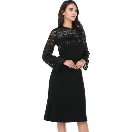 73996dc3e575c B&S Line Kadın Kolları Yakası Dantelli Taşlı Siyah Elbise Fiyatı