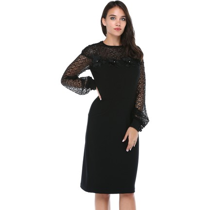 a1f7c4105679f B&S Line Kadın Yakası Kolları Dantelli Motifli Siyah Elbise Fiyatı
