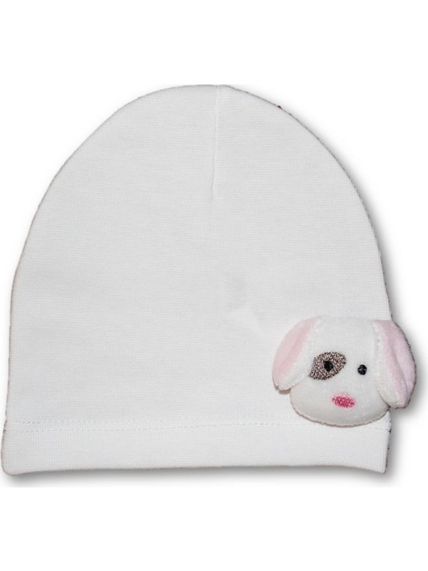 Bibaby Köpekçikli Penye Kız Bebek Şapka-Ekru