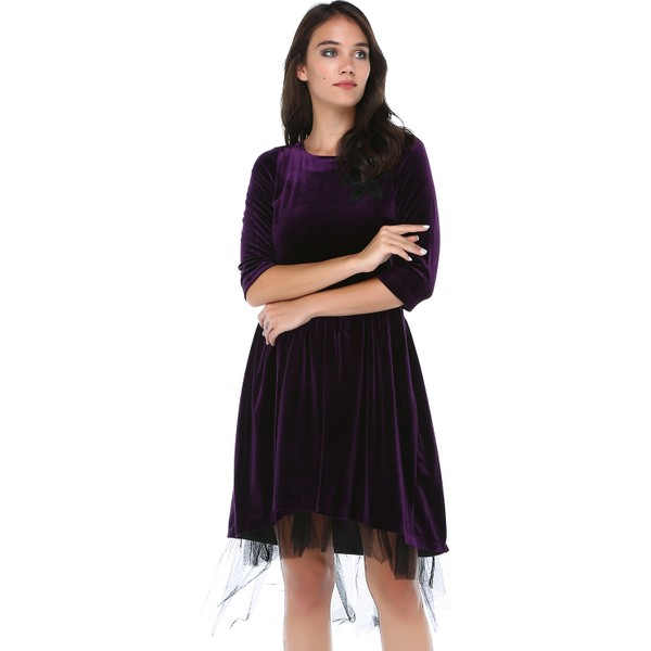 de1925a1c1b8d B&S Line Kadın Mor Kadife Tül Detaylı Dantelli Elbise - 42 Fiyatları ...