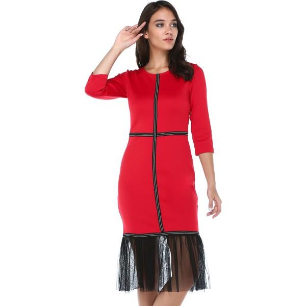 55814f2ee8015 B&S Line Kadın Tül Garnili Şeritli Kırmızı Elbise - 42 Fiyatları ...