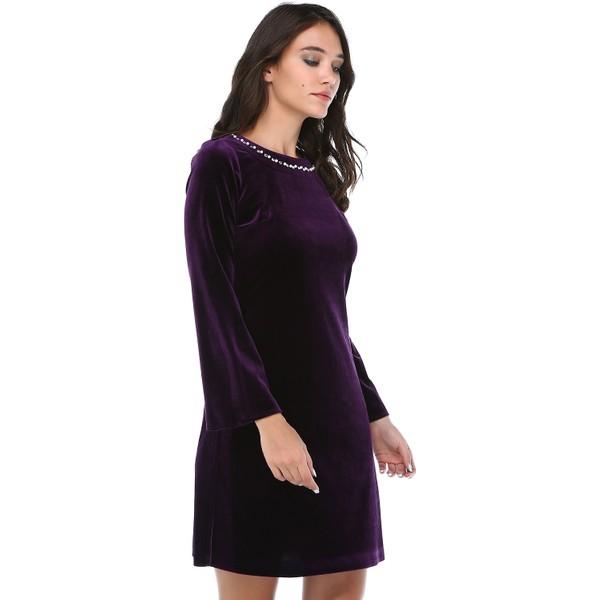 73698ff12b50a B&S Line Kadın Kadife Yakası Taşlı Mor Elbise - 36 Fiyatları ...