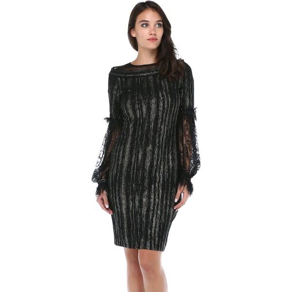 7109f13a3722b B&S Line Kadın Kolları Dantel Yakası Tül Siyah Elbise - 38 Fiyatları ...