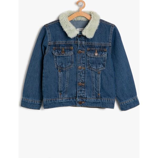 Koton Erkek çocuk Suni Kürk Detaylı Jean Ceket 3 4 Yaş Mavi