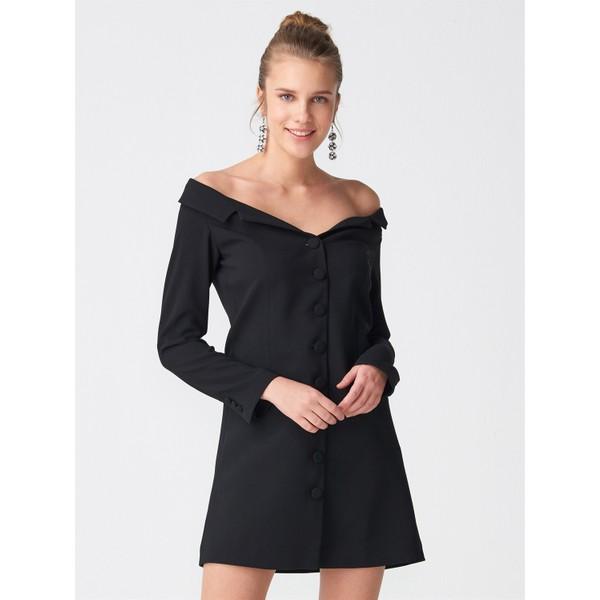 d5f8b7ad4e122 Dilvin 9850 Düşük Omuz Düğmeli Elbise Siyah - 36 Fiyatları ...