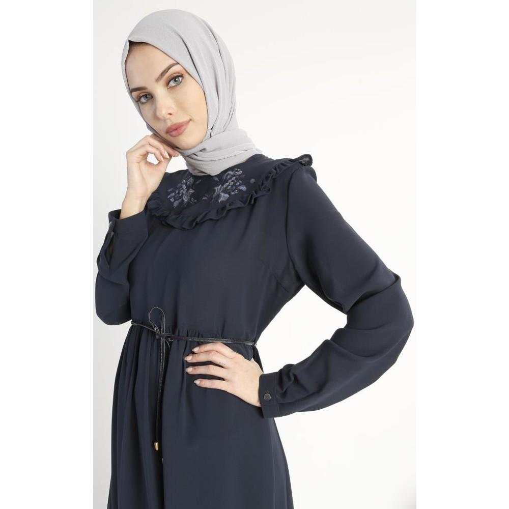 c52dab2e93d85 Abacı Lacivert Çiçek Desenli Elbise Elb10890-F03 Fiyatı